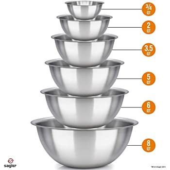 mixing bowls - mixing bowl Set of 6 - stainless steel mixing bowls - Polished Mirror kitchen bowls - Set Includes ¾, 2, 3.5, 5, 6, 8 Quart - Ideal For Cooking & Serving - Easy to clean - Great gift
