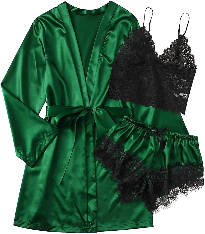 MOOKO Women's Satin Pajama Set and Robe 3 Piece Sleepwear Lingerie Lace Spaghetti Strap Nightwear Bralette Shorts Robes