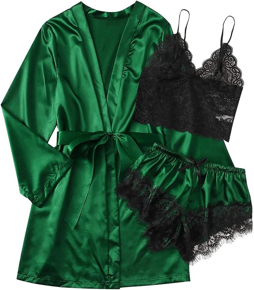 3 teiliges Satin Pyjama Dessous-Sets, Dessous Frauen Silk Lace Babydoll Nachtwäsche Nachthemd Set Kimono Damen Morgenmantel Satin Bademantel Seide Roben V Ausschnitt Mit Blumenspitze