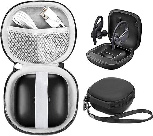 WGear Customized Travel Case for Beats Powerbeats Pro - Totally Wireless Earphones, Mesh Cable Pocket, Elastic Secure Strap, Elite Wrist Strap (Matte Black) (Matte Black)