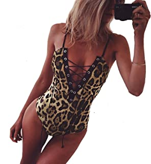 Women Deep V Neck Lace Up Leopard Bodysuit Romper Spaghetti Strap One Piece Swimsuit