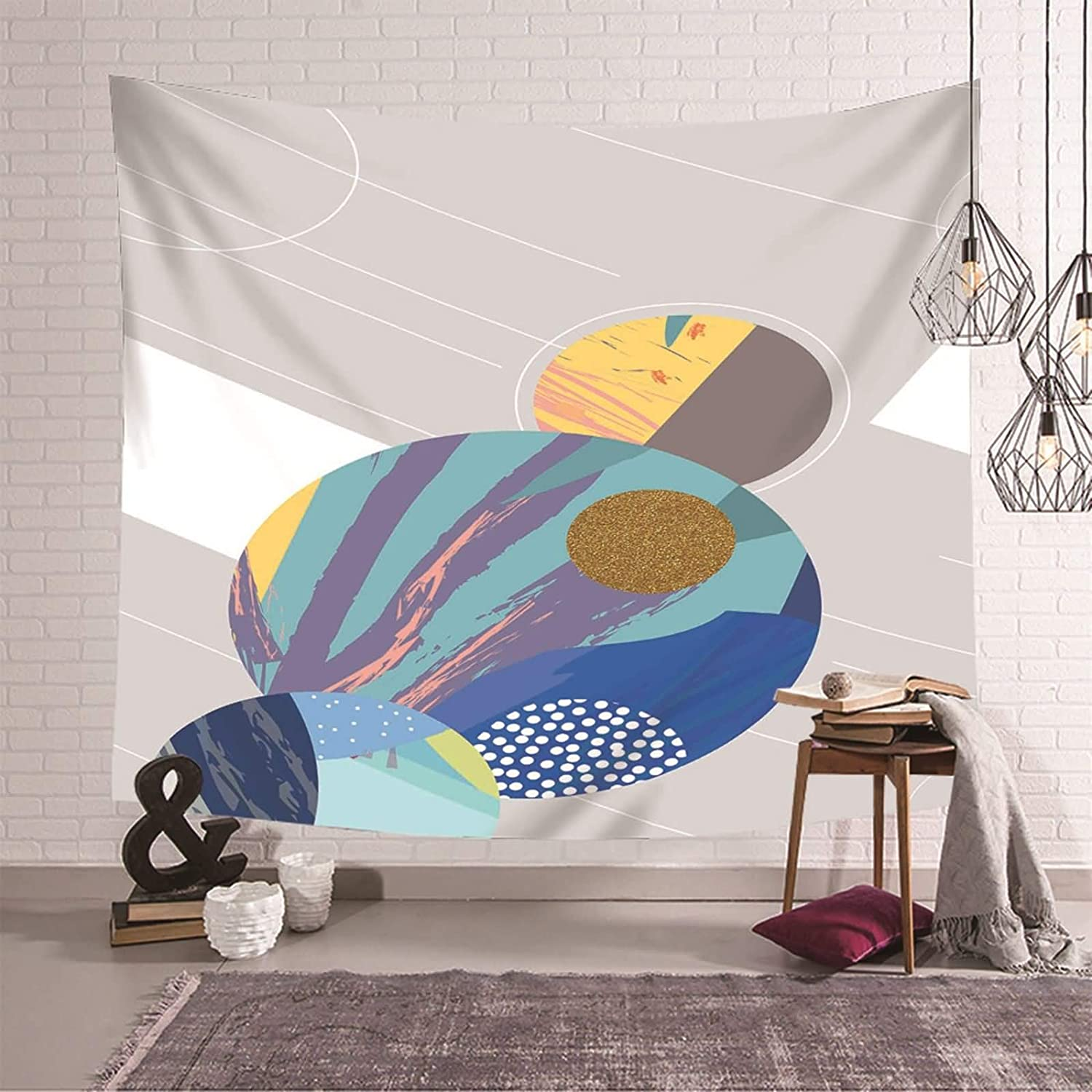 Gnzoe Wall gift Tapestry Holiday Home Grey Decor Abstr Blue Polyester Popularity