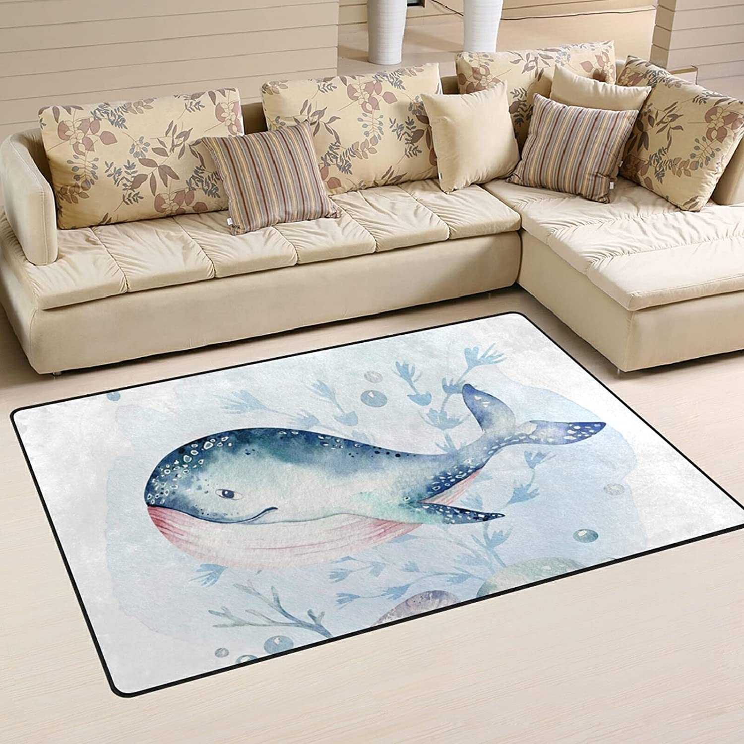 Whale and Coral Large Soft Area Sale item Nursery 70% OFF Outlet Playmat Mat Rugs Rug for