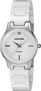 Armitron Women's 75/5348WTSV Diamond-Accented Silver-Tone and White Ceramic Bracelet Watch