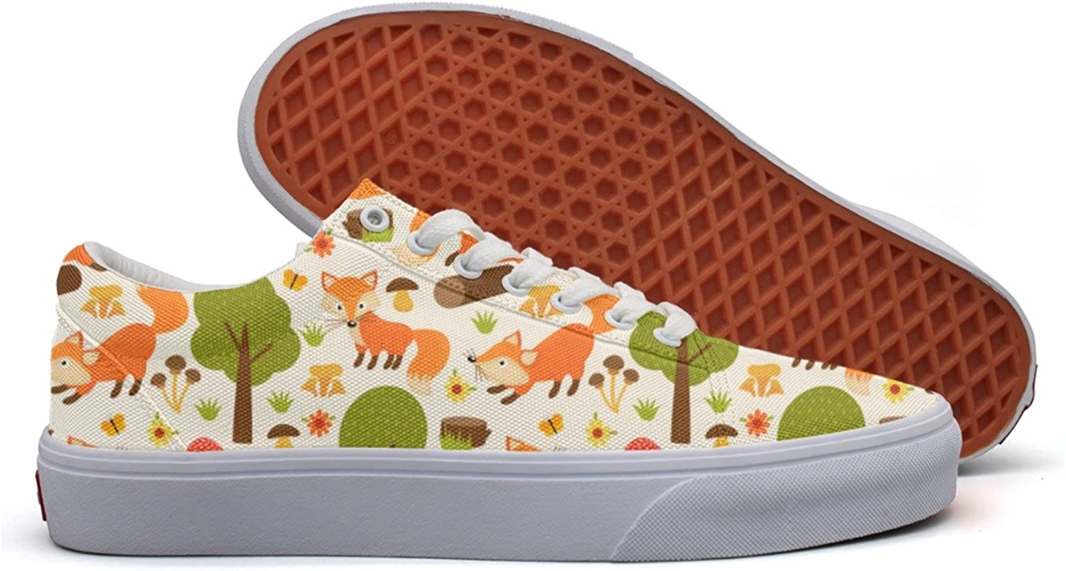 Fox In Forest Womens Plain Canvas Low Top Fashion Sneakers shoes For Women