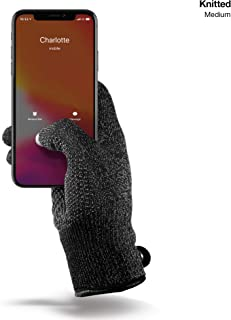 Mujjo Single Layered Touchscreen Winter Gloves | All-Hand & Finger Smartphone Texting, Anti-Slip Grip | Leather Cuffs, Magnetic Snap Closure (Medium)