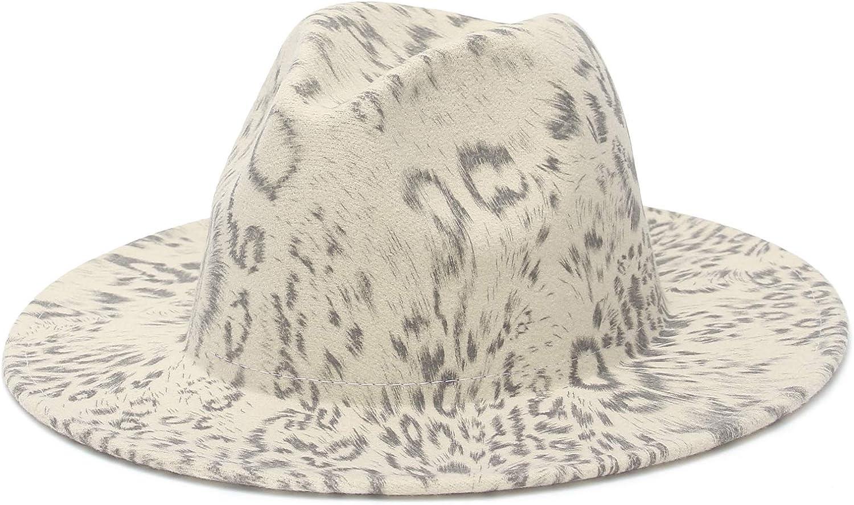 GEMVIE Women's Classic Wide Brim Fedora Hat Leopard Print Fedora Hat Elegant Flat Brim Jazz Hat for Ladies