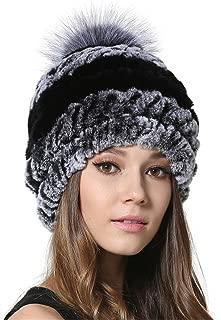 MEEFUR Womens Silver Fox Fur Ball Hat Winter Rex Rabbit Fur Knitted Beanies With Genuine Fur Pom Pom Bobble