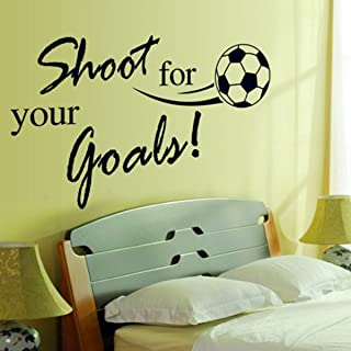 DNVEN 32 inches x 24 inches Kids Sports Learning PVC Removable Wall Art Sticker Decal DIY Room Kid Mural Decor Shoot for Your Goals Soccer Football Quotes Lettering Vinyl Wall Decals Motivational