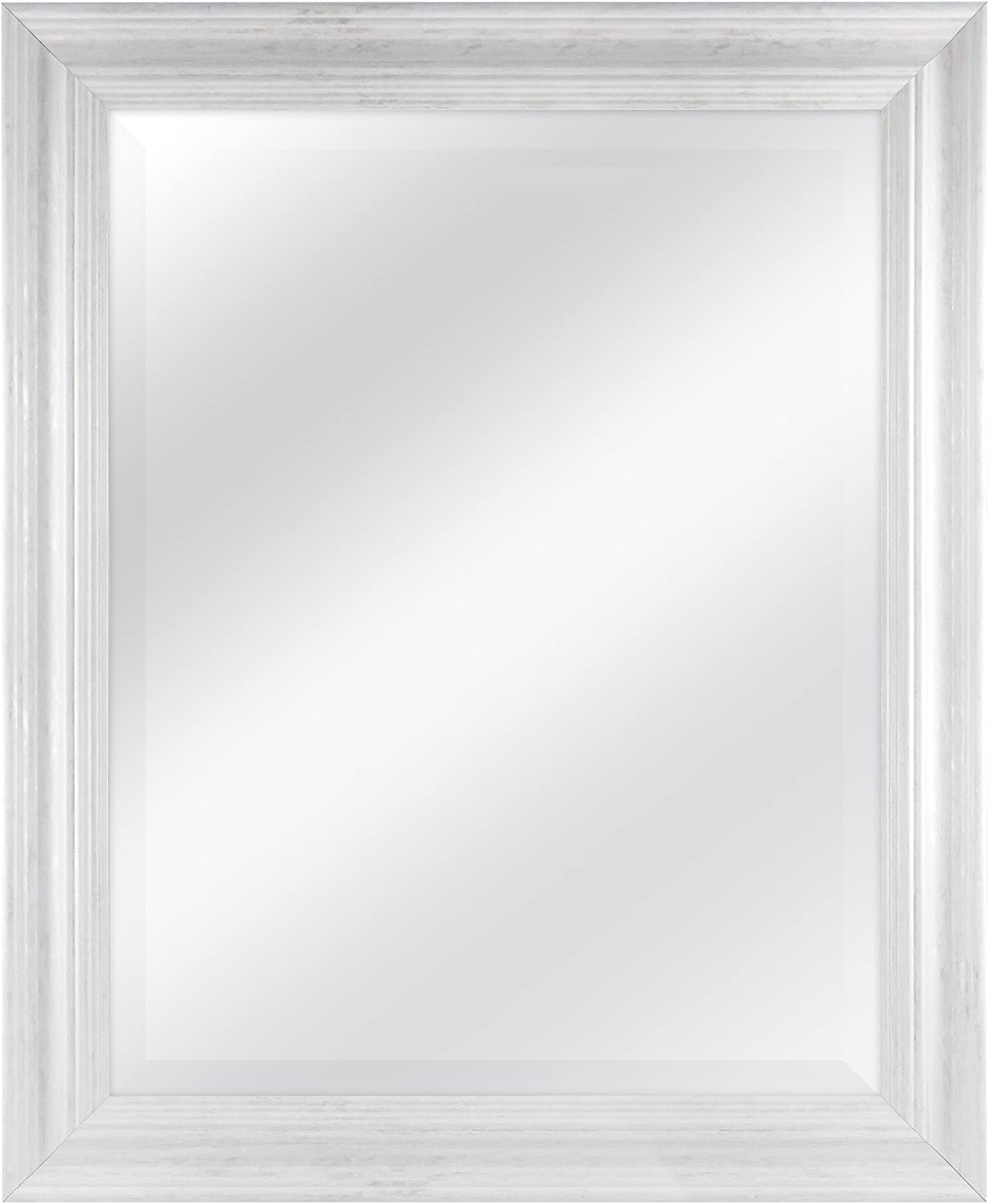 MCS 22 by 28 inch Scoop Mirror, 27.5 by 33.5 inch Outside Dimension, White Wash Finish 20548, 27.5 x 33.5 Inch,