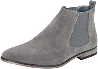 Mens Italian Suede Chelsea Ankle Boots Smart Casual Desert Dealer Slip On
