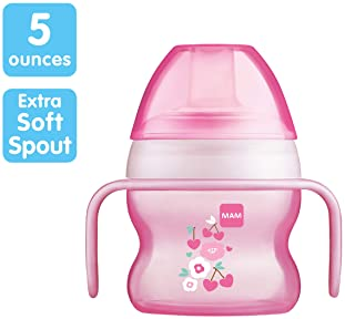 MAM Starter Cup (1 Count), MAM Sippy Cup, Drinking Cup with Extra-Soft Spill-Free Spout and Non-Slip Handles, for Gir...
