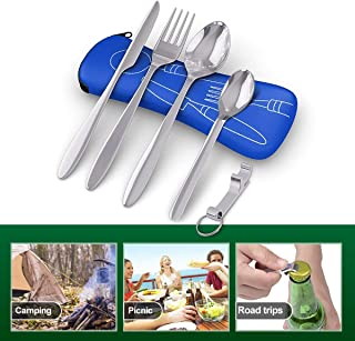 5 Pcs Cutlery Camping Set - Premium Stainless Steel - Portable Travel Cutter, Spoon, Fork, Teaspoon & Lightweight Bottle Opener - with Neoprene Zip Bag - for Picnic, Hiking, Camping, Road Trips.
