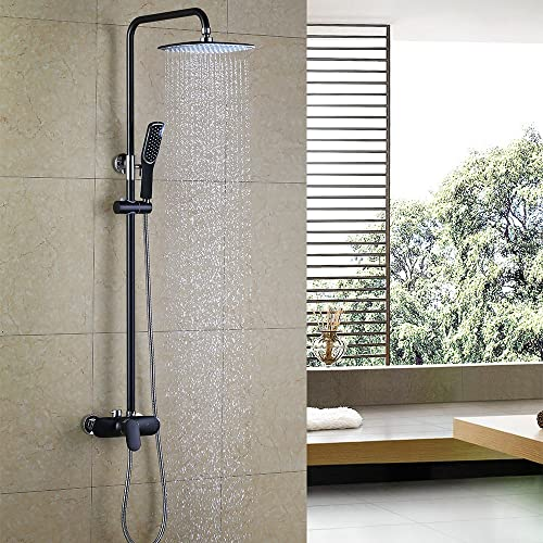 HOMELODY Black Bath Mixer Shower System with Rain Shower Set, Shower System with Rain Shower Head and Hand Shower Head