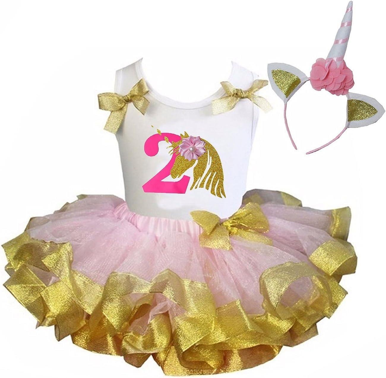 Kirei Sui Pink Gold Satin Trimmed Tutu /& 1st 6th Birthday Blue Unicorn Set