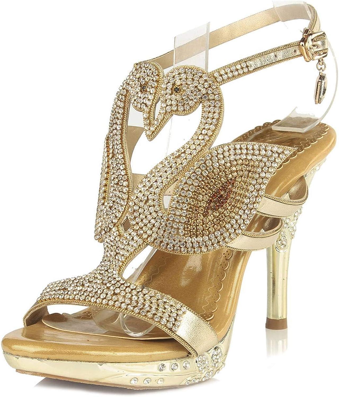 YooPrettyz Open Toe Shimmery Swan Shaped Platform Sandals Wedding Dress Party Heels