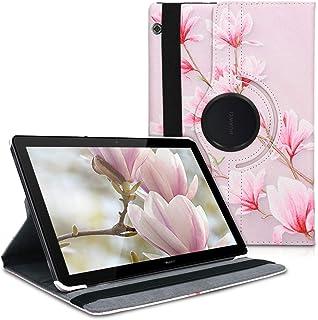 kwmobile 対応: Huawei MediaPad T5 10 ケース - 360度回転 横置き縦置き タブレット 保護 カバー - モクレンデザイン