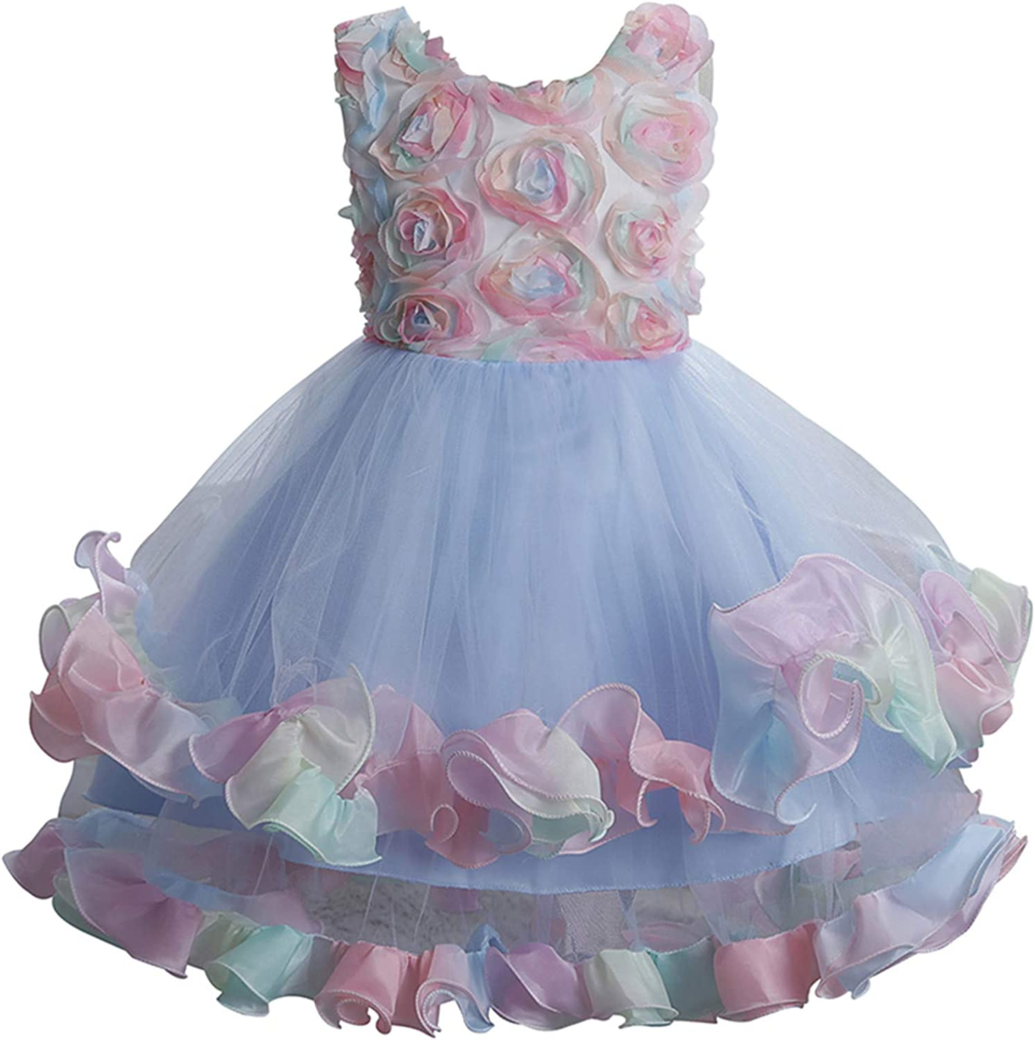 Toddler Kids Baby Girls Princess Dress Floral Tutu Gown Dress Formal Princess Party Tulle Tiered Full Dress