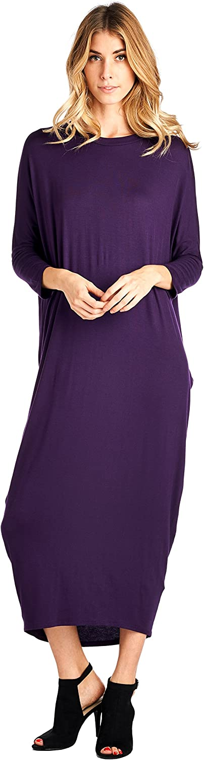 12 Ami Solid Long Sleeve CoverUp Maxi Dress  Made in USA