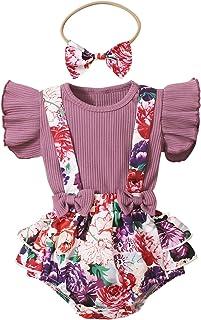 Alliwa Baby Alliwa Neugeborene Baby Mädchen Blumendruck Kleidung Fliege Strampler Hosenträger Stirnband Outfits Babykleidung Set