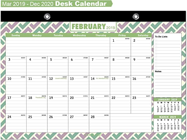 Desk Calendar 2019 2020 Large Monthly Wall Calendar With Plastic Cover 16 X11 5 18 Months Academic Year Desk Calendars Mar 2019 Dec 2020 With Bonus Planner Stickers By COOLOO