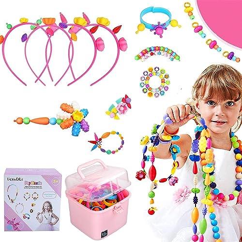 Ucradle Pop Perles, 550 Pièces Perles pour Enfant Bricolage Création Bijoux Enfant Kit de Creation de Bracelet Collie...