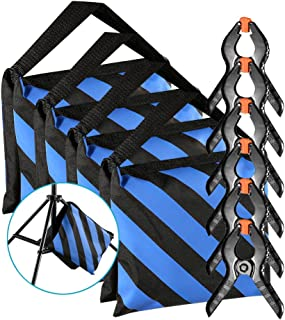 Neewer 4-Pack Heavy Duty Sandbag (Blue/Black) for Photo Studio Light Stands Boom Arms with 6-Pack Muslin Backdrop Spring Clamps Clips (Empty Sandbag)