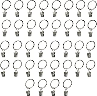 "TinaWood 36 PCS 1.5"" Metal Drapery Curtain Rings with Clips (1.5INCH)"