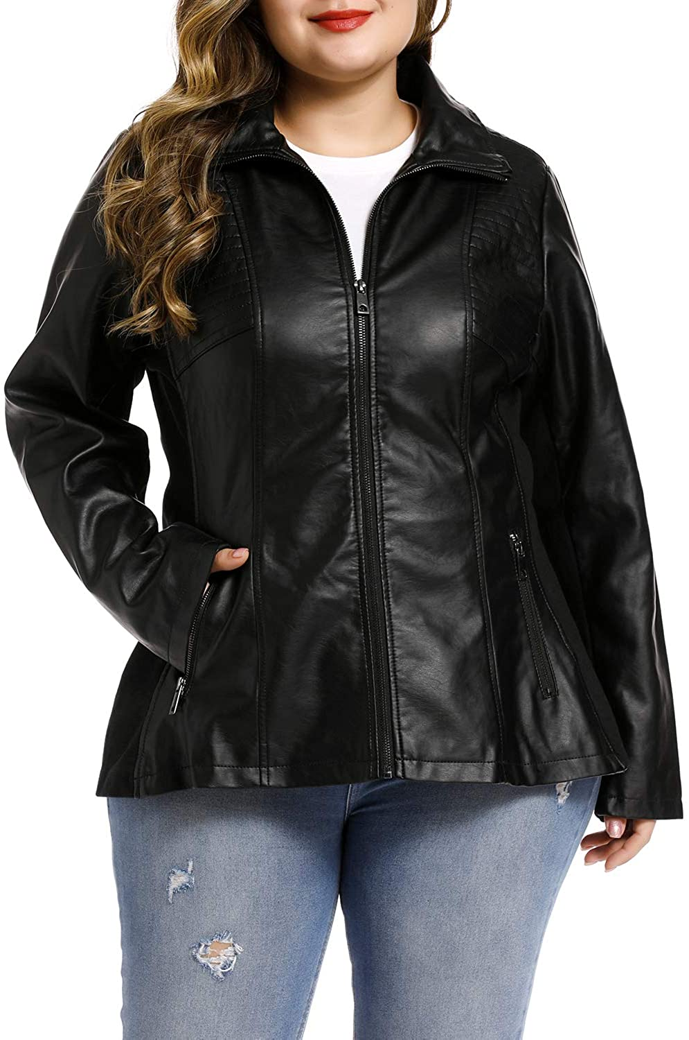 S P Y M Women's Faux Leather Fashion Quilted Moto Biker Jacket Plus size and Regular Size
