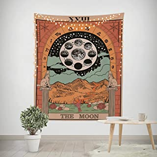 Third Goddess Tarot Tapestry, Sun Moon Style Design Decorative Wall Hanging Art Sets 50 x 60 Inches for Home Office & Dorm Decor (Colorful Moon)