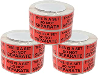 Shop4Mailers This is a Set Do Not Separate 红色标签 2.54 厘米 x 5.08 厘米 500 卷 6 Rolls 红色