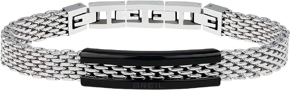 Breil bracciale uomo in acciaio lucido con placchetta in acciaio nero TJ2741