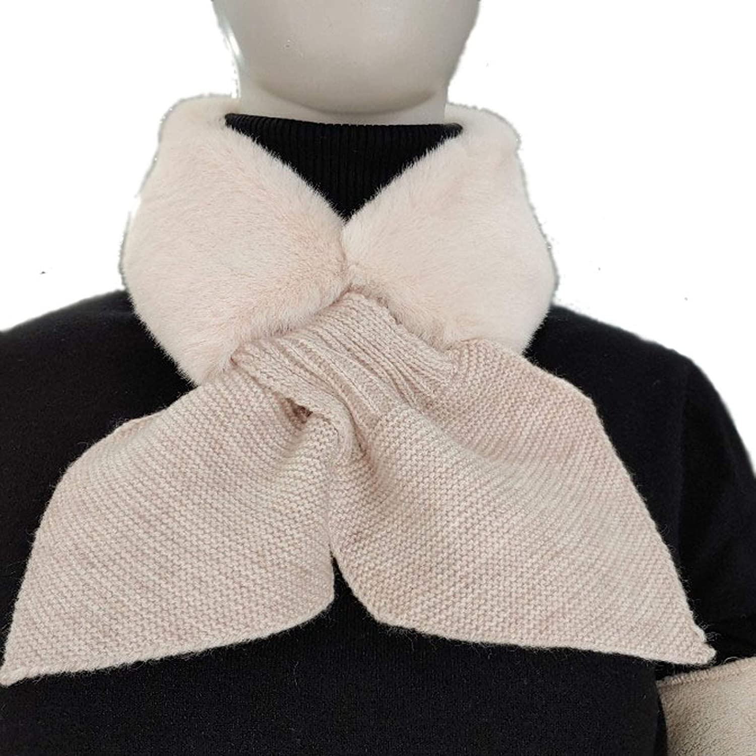 FURSURE Faux Fur Collar Scarf Knitted Neck Shrug for Fall Winter
