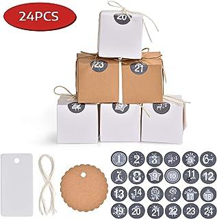 comprar comparacion Ulikey Cajas para Calendario de Adviento DIY, 24 Cajas para Exponer y Rellenar, 1-24 Adhesivos Digitales de Adviento, Navi...