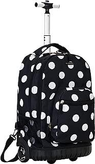 Luggage 19 Inch Rolling Backpack Printed, Black Dot, Medium