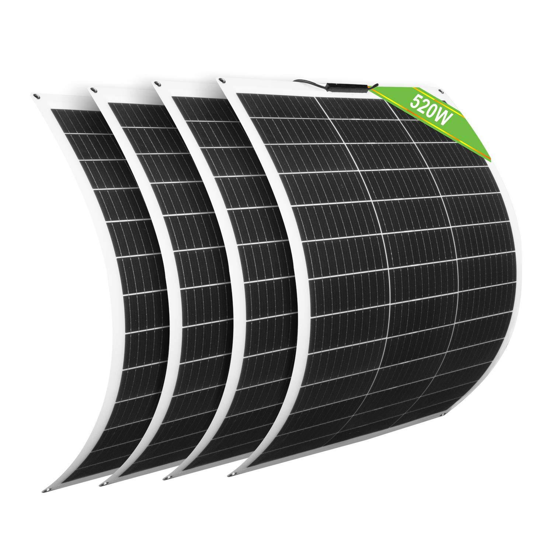 ECO-WORTHY Paquete de 4 Paneles Solares Flexibles 130W 12V Módulo Monocristalino para Cargar Batería de 12V 24V / Coche/Barco/Caravana