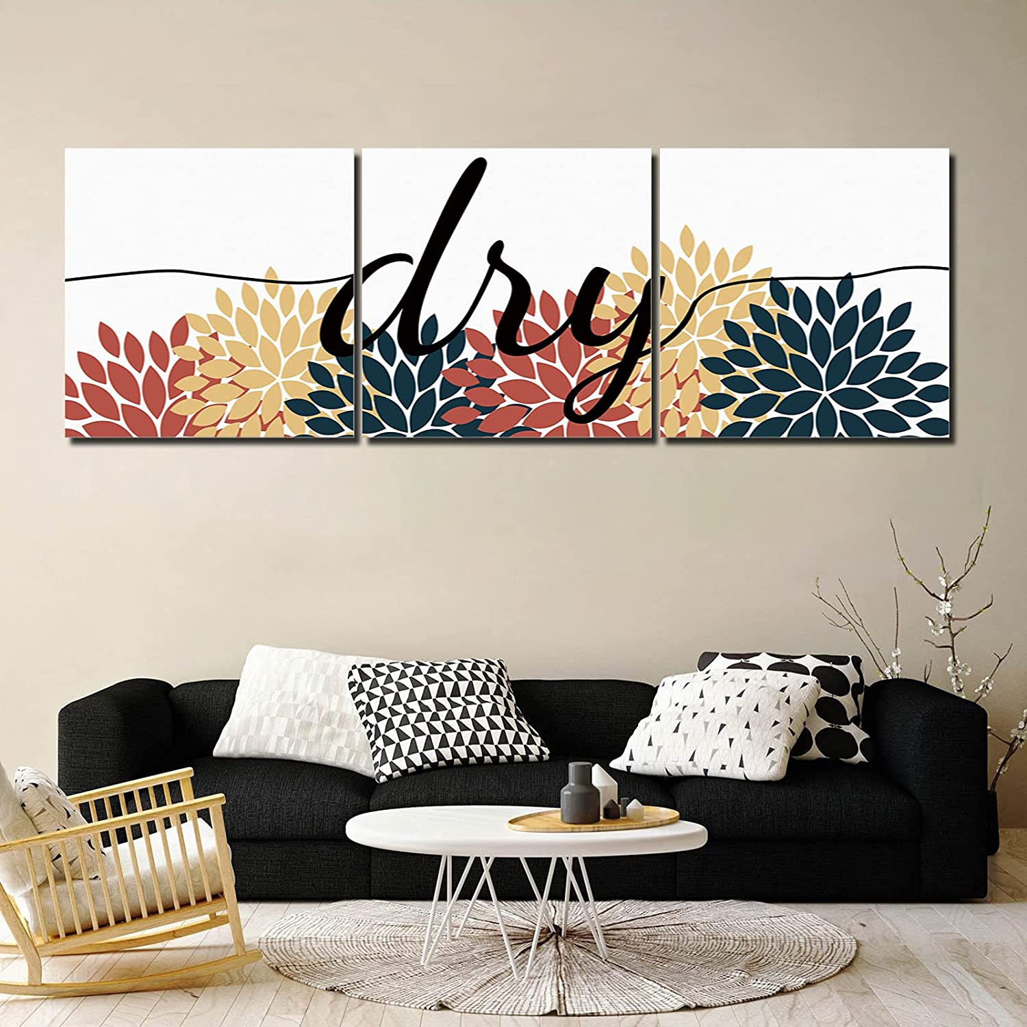 Framed Wall Art Red Blue Yellow Super popular specialty store Flowers 3 Prin Panel Cheap sale Canvas Dali