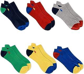Men's Athletic Low Cut Rib Cuff Ped 6-Pair Socks 10-13