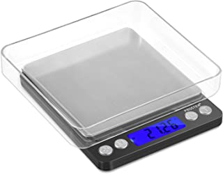 Proster Digital Food Scale 500g/0.01g Portable Kitchen Scale Backlit LCD Pocket Stainless Steel Precision Scale for Cooking Jewelry Weighing Durable Scale 2 Trays 6 Units Tare Function