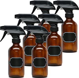 6 Pack Firefly Craft Amber Glass Spray Bottles with Chalkboard Labels, 8 ounces each