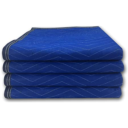 """uBoxes Pro Economy Moving Blankets (4 Pack) 35lbs/doz 2.92lb/ea 72""""x80"""" Blue"""