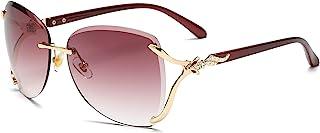 نظارة شمسية بعدسات دائرية باطار بدون حواف للنساء من فولشين، نظارة شمسية باطار معدني للنساء والرجال موديل VC1012