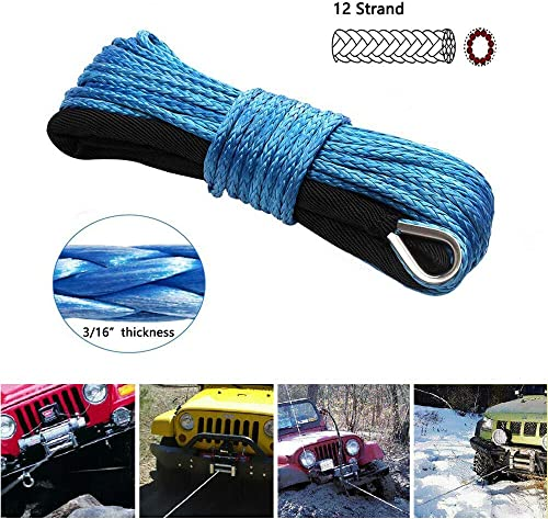 Winch Rope 3//16 x 50 6500+Lbs Blue Winch Cable Nylon Winch Line with Black Protecting Sleeve and Rubber Stopper and Winch Hook for ATV UTV SUV Jeep Truck Boat