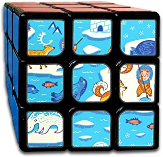 Custom 3x3 3x3 Magic Speed Cube Best Brain Training Toys 3x3x3 North Pole Seamless Pattern Inuit Art The Magic Cube Party Game for Boys Girls Kids Toddlers-55mm