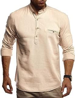 PASLTER Mens Henley Shirts Long Sleeve Stand Collar Golf Shirt Casual Fishing Tee Summer Yoga Top Workout Shirts