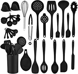 TeamFar Kitchen Utensil, 28 PC Silicone Kitchen Cooking Baking Utensil Set for Nonstick Cookware, Spatula Holder Spoon Whi...