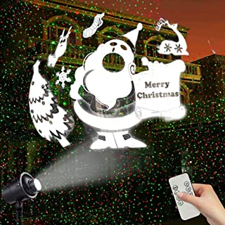 Christmas Projector Lights Outdoor Newest Design, 3D Rotating Snowfall Projection Lamp with Remote Control, Outdoor Waterproof Sparkling Landscape Decorative Lighting for Holiday Halloween Xmas Party