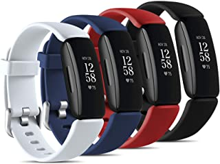 Maledan Compatible with Fitbit Inspire 2 Bands Pack 4 for Men Women, Waterproof Silicone Band Adjustable Sport Strap Accessory for Inspire 2, Large Black/Blue/White/Red