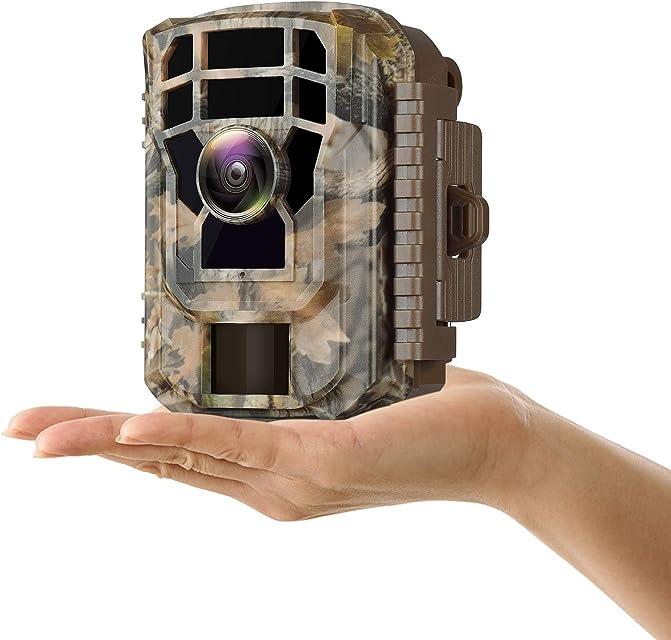 Campark Mini Cámara de Caza 1080P HD Cámara de Vigilància Nocturna Trail Cámara 120 ° Gran Angular con Detección de Acción LED de Brillo Lapso de TiempoDiseño Impermeable IP5612MP Cámara