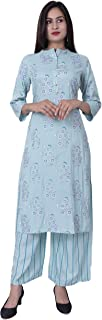 DS Enterprises Women's Rayon Printed Kurti with Palazzo Set (Sky Blue)